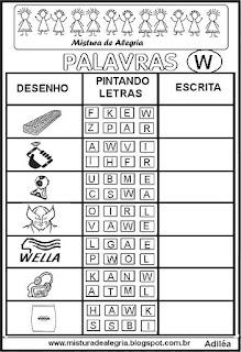 Sequência alfabética alfabetização letra W