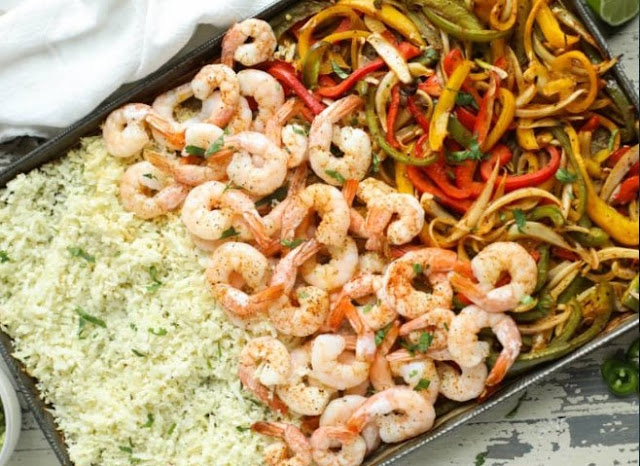 One Pan Shrimp Fajitas #lunch #healthy