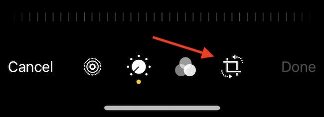 اضغط على زر اقتصاص (مربع به أسهم منقطة) في وضع التحرير.