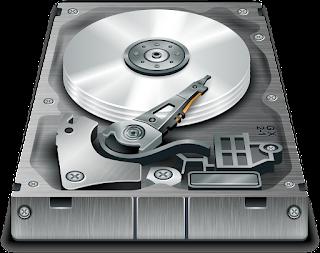 Gambar ilustrasi harddisk yang memperlihatkan komponen - komponen utamanya