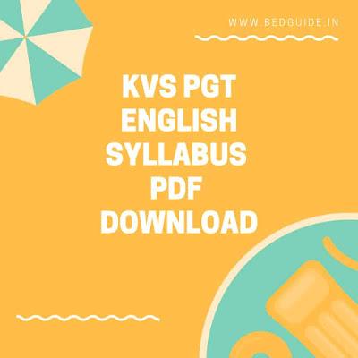 KVS PGT English Syllabus PDF Download