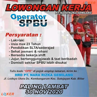 Lowongan Kerja Operator SPBU di Kembangarum, Blitar, November 2020