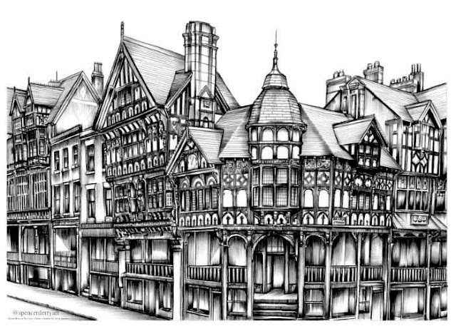 The Rows, Chester. Ink Drawing.