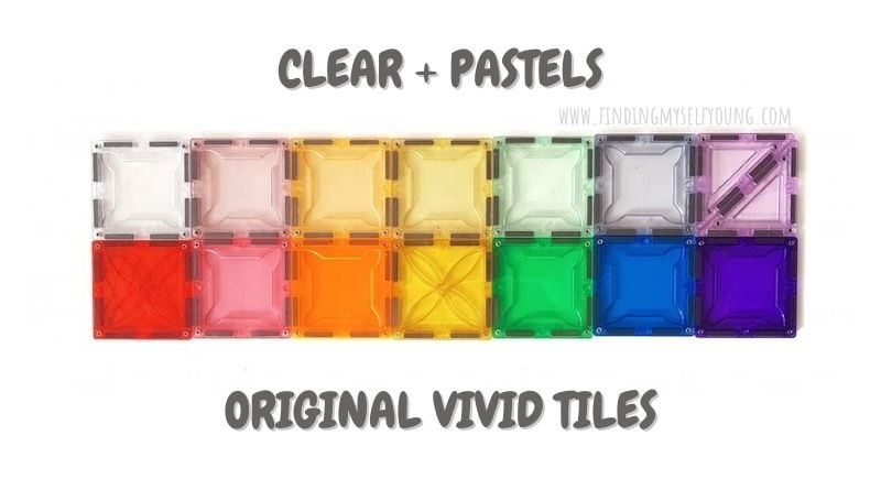 pastel, clear and rainbow magblox magnetic tiles