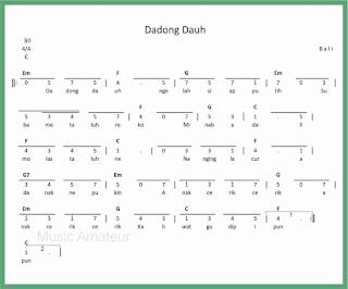 not angka lagu dadong dauh lagu daerah bali