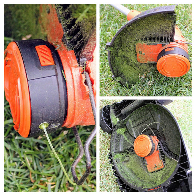 Black & Decker 3 in 1 Cordless Mower - A three picture collage of the debris guard and trimmer line.