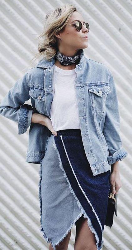 denim fashion trends / tee + bag + jacket + skirt