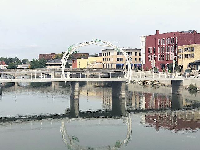 The Blain Gilbertson Family Heritage Bridge adds an elegant arch over the Rock River.