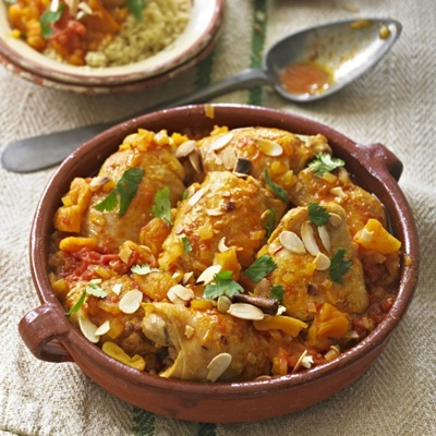 Moroccan Spiced Chicken With Tomatoes Saffron And Apricots