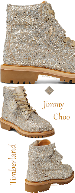 Sparkling Jimmy Choo Timberland golden mix shimmer suede boots with crystal hotfix #brilliantluxury