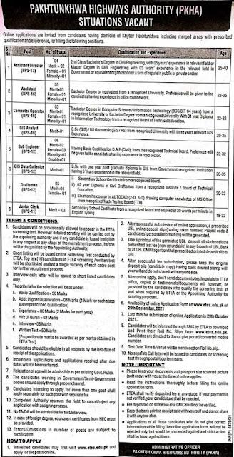 Pakhtunkhwa Highways Authority jobs 2021