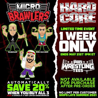 ECW Hardcore Legends Micro Brawlers Figures by Pro Wrestling Tees – Sandman, Sabu & RVD!