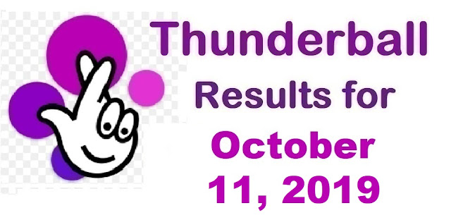 Thunderball results for Friday, October 11, 2019