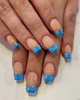 Blue Christmas Nails