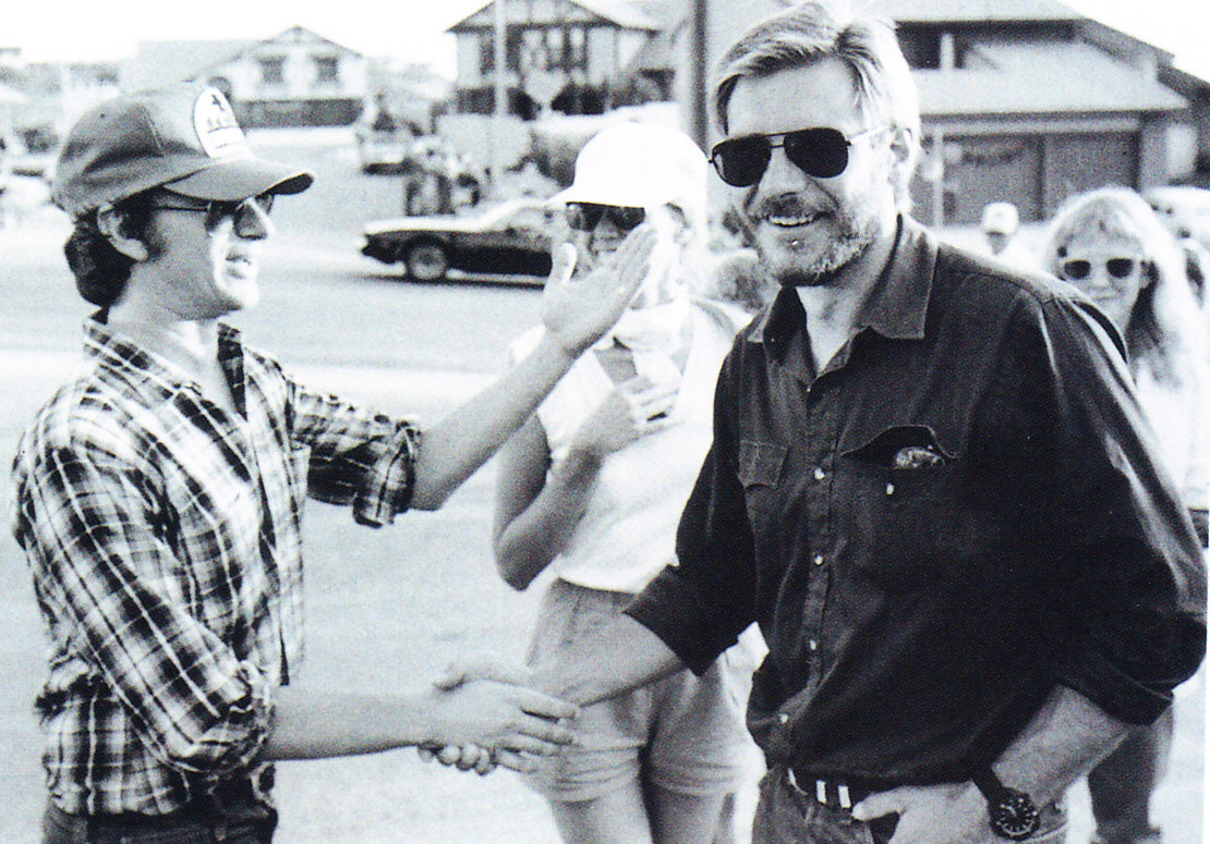 Harrison Ford on the set of E.T. The Extra Terrestrial with Steven Spielberg