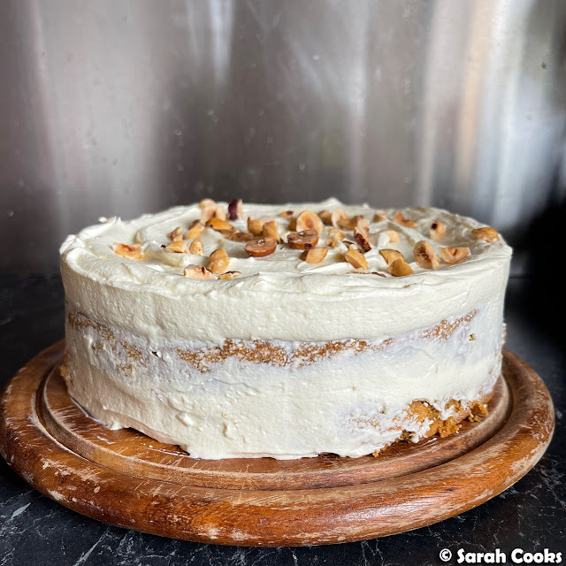 Carrot and toasted hazelnut cake with cream cheese mascarpone frosting