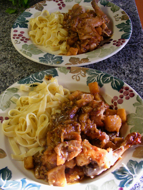 Rabbit and celeriac carbonnade served with egg noodles.  Indre et Loire, France. Photographed by Susan Walter. Tour the Loire Valley with a classic car and a private guide.