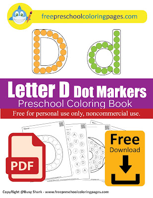 Letter D dot markers free preschool coloring pages ,learn alphabet ABC for toddlers
