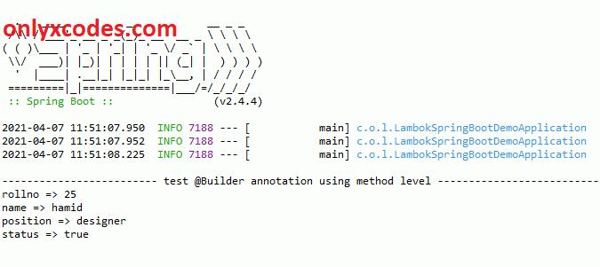@Builder method level annotation output | builder