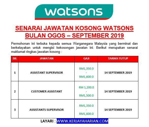 [Temuduga Terbuka] Senarai Permohonan Jawatan Kosong Watsons Bulan Ogos - September 2019