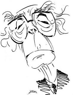 Caricatura de José Saramago, ateu famoso