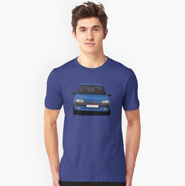 Blue cornerign Peugeot 205 GTi in a T-shirts