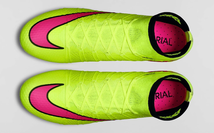 best website 384d9 a7b20 The black carbon fibre outsole of the new Volt 2015 Nike Mercurial Superfly  Boots provides acceleration in all directions and features pink studs.