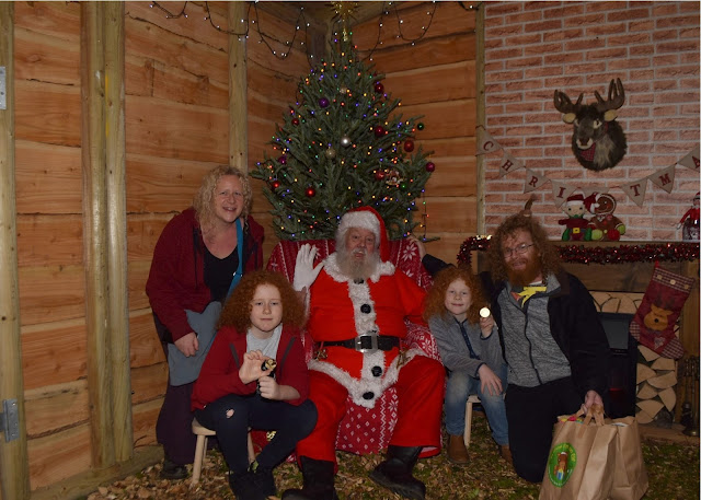 Family visit with Santa Cockfields Farm Christmas Experience