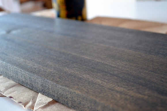 Stain your wood then allow it to fully dry.