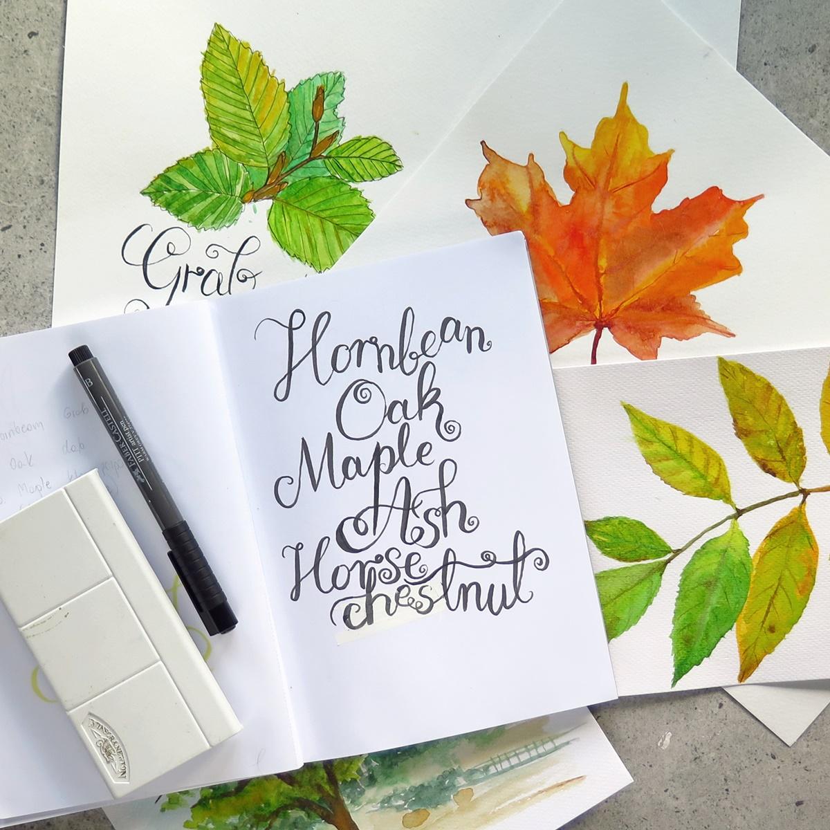 Jesienne liście malowane akwarelami na #zenjowewyzwanie