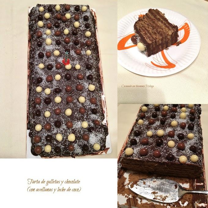 Tarta de galletas y chocolate (con avellanas y leche de coco)