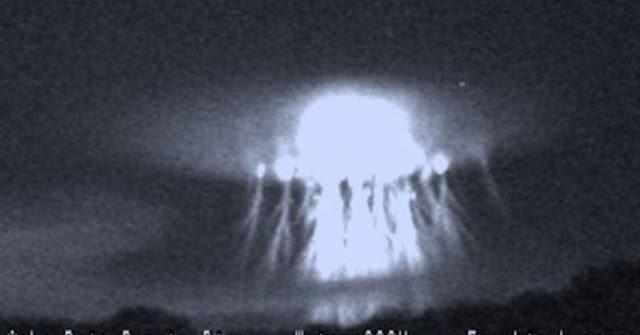 Giant A-Bomb Shaped Flash Lightens Up The Night Sky Over The Caribbean Sea