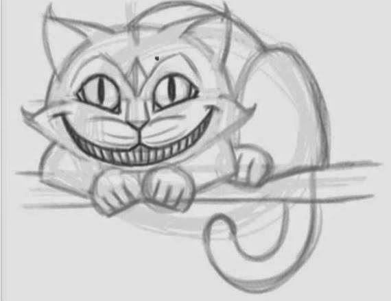how to draw the cheshire cat the idea king