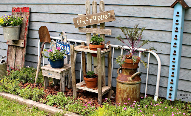 Junk Upcycled as Garden Decor #garagesale #containergarden #gardenjunk #junkgarden