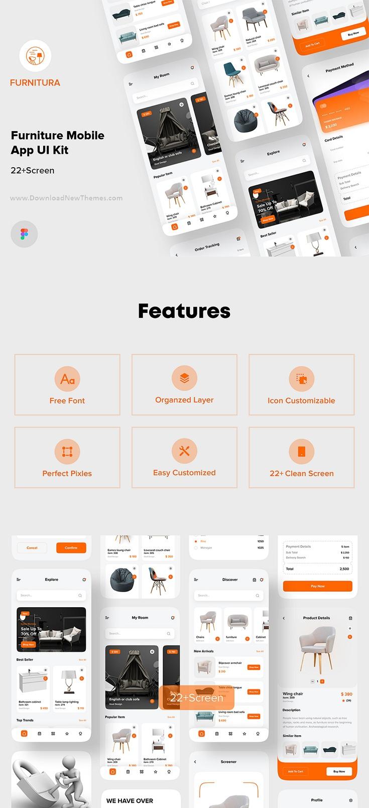 Furniture Mobile App UI Kit For Figma