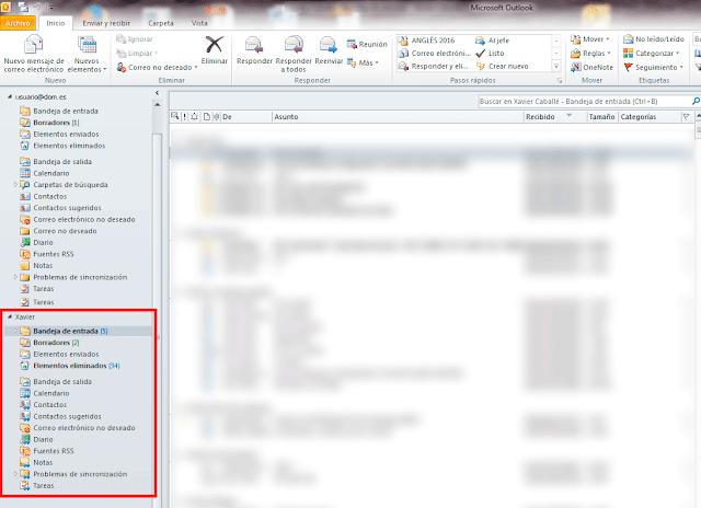 Outlook 2010 - comprobaremos que tendremos acceso a nuestro buzón y al buzón que nos ah sido delegado.