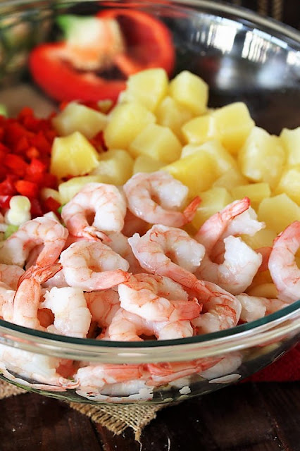 Pineapple Shrimp Macaroni Salad Ingredients Image