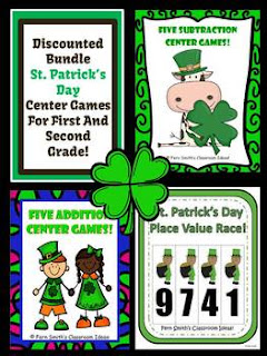 St. Patrick's Day Math Center Games for Addition, Subtraction, and Place Value Bundle