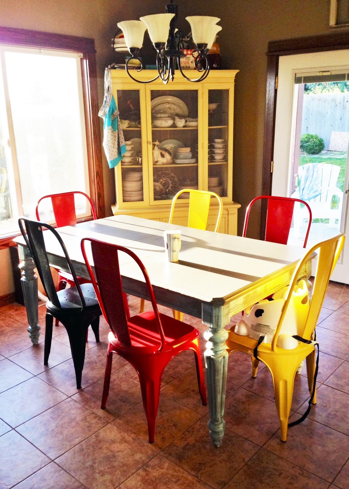 Dining Table With Metal Chairs Club And New World Market Averie Lane After In Multiple Colors Painted Yellow Hutch
