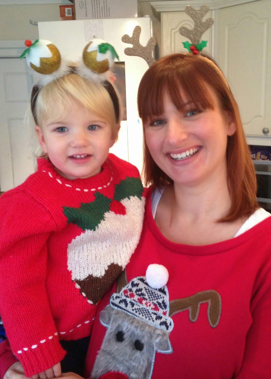 Tin Box Tot and Tin Box Traveller in Christmas jumpers