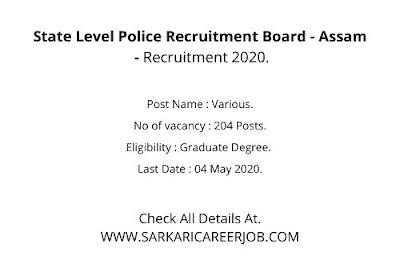 Assam Police Recruitment 2020 | 204 Posts Assam Police Online Apply 2020.