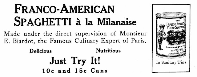 An illustrated advertisement of Franco-American 1915 canned spaghetti
