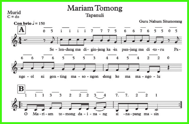 not lagu mariam tomong