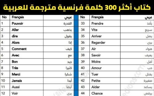 تحميل كتاب أكثر 300 كلمة فرنسية مترجمة للعربية PDF