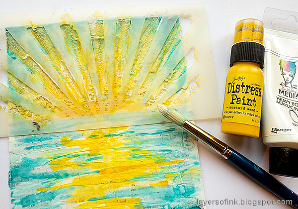 Layers of ink - Sunny Ocean and Beach Mixed Media Scene Tutorial by Anna-Karin Evaldsson.  Paint the sun rays.