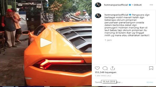 Postingan Hotman Paris soal pramugari (Capture/Instagram)