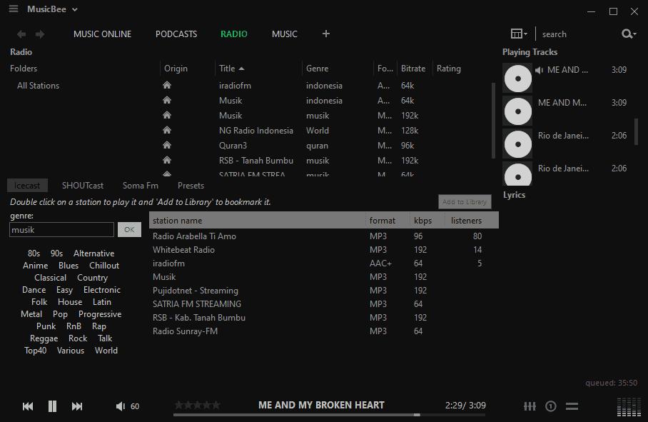 Radio Online Media Player MusicBee
