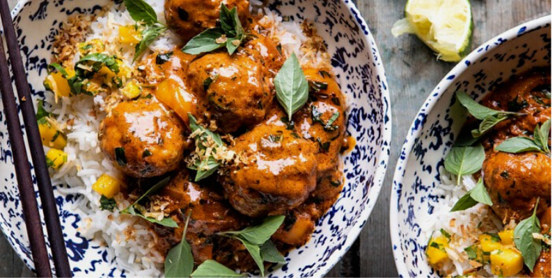 How to make weeknight 30 minute coconut curry chicken meatballs.