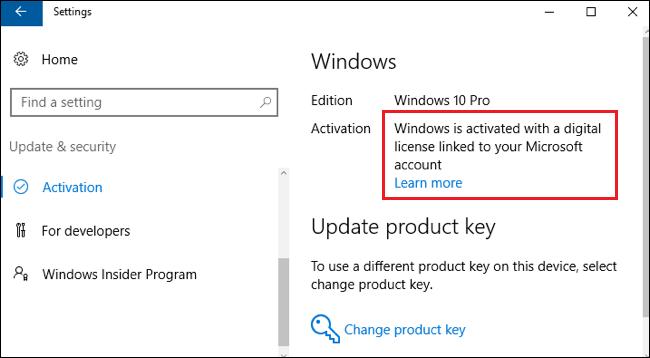 Windows est activé avec une licence numérique liée à votre compte Microsoft