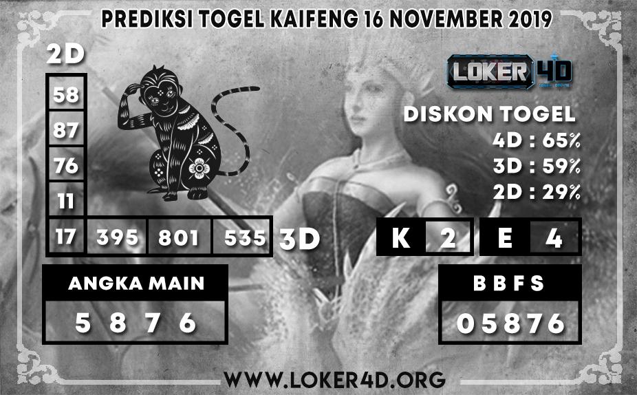 PREDIKSI TOGEL KAIFENG POOLS LOKER4D 16 NOVEMBER 2019